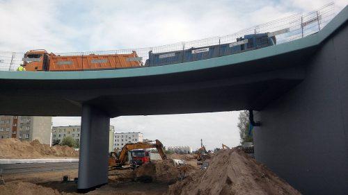 próbne obciążenie mostu / L.17-044 Trasa Niepodległości Białystok Budimex