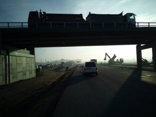 próbne obciążenie mostu / L.18-005 S7 Nowy Dwór Budimex