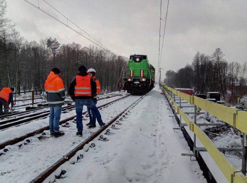 próbne obciążenie mostu / L.18-065 E30 Trzebinia - Krzeszowice Budimex
