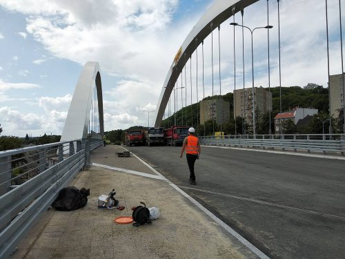 próbne obciążenie mostu / L.19-034 Biskupia Górka Gdańsk Budimex