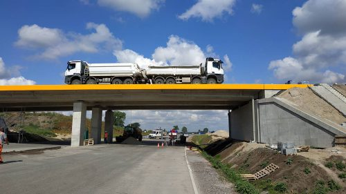 próbne obciążenie mostu / L.19-037 obwodnica Inowrocławia etap II Kobylarnia