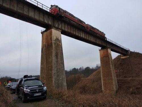 próbne obciążenie mostu / L.19-075 Kūlupėnų railway bridge Inhus Mosty Gdańsk