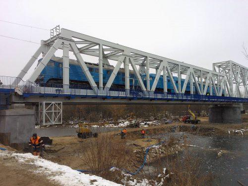 próbne obciążenie mostu / Probne obciążenie mostu granicznego nadrzeką Bug wTerespolu